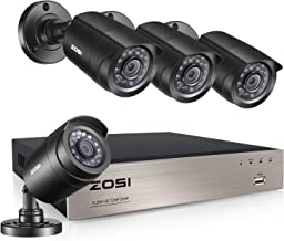 ZOSI Home Security Cameras System 8CH 1080p Lite CCTV DVR Recorder with 4X 720p HD Indoor Outdoor Weatherproof 65ft Night Vision CCTV Cameras NO Hard Drive