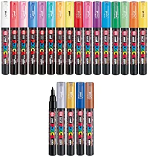 Uni Posca Paint Marker FULL RANGE Bundle Set, Mitsubishi Poster Colour ALL COLOR Marking Pen Extra Fine Point (PC-1M) 21 Colours (14 Standard & 7 Natural) Japan Import