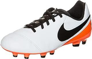Kids Tiempo Legend VI FG White/Black/Total Orange Shoes - 4.5Y