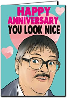 Jim Friday Night Dinner - Happy Anniversary You Look Nice Anniversary Card for Husband Wife A73