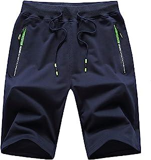 JustSun Mens Shorts Casual Workout Shorts with Elastic Waist Zipper Pockets