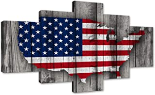 AMEMNY Vintage Wooden American Flag Map Canvas Red White Wall Art Patriotic USA Flag Painting Independence Day 5 Panels Artwork Print Giclee for Living Room Home Decor Stretched Framed Ready to Hang