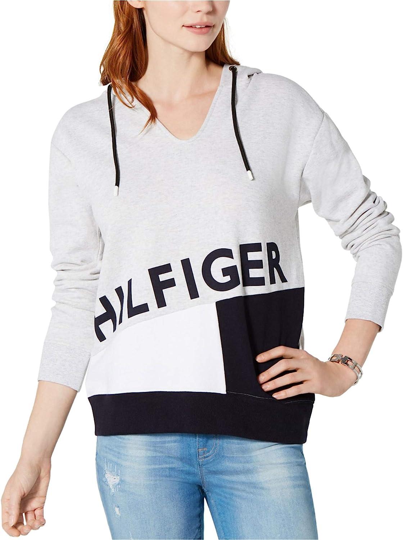 Tommy Hilfiger Womens Colorblock Logo Hoodie Sweatshirt