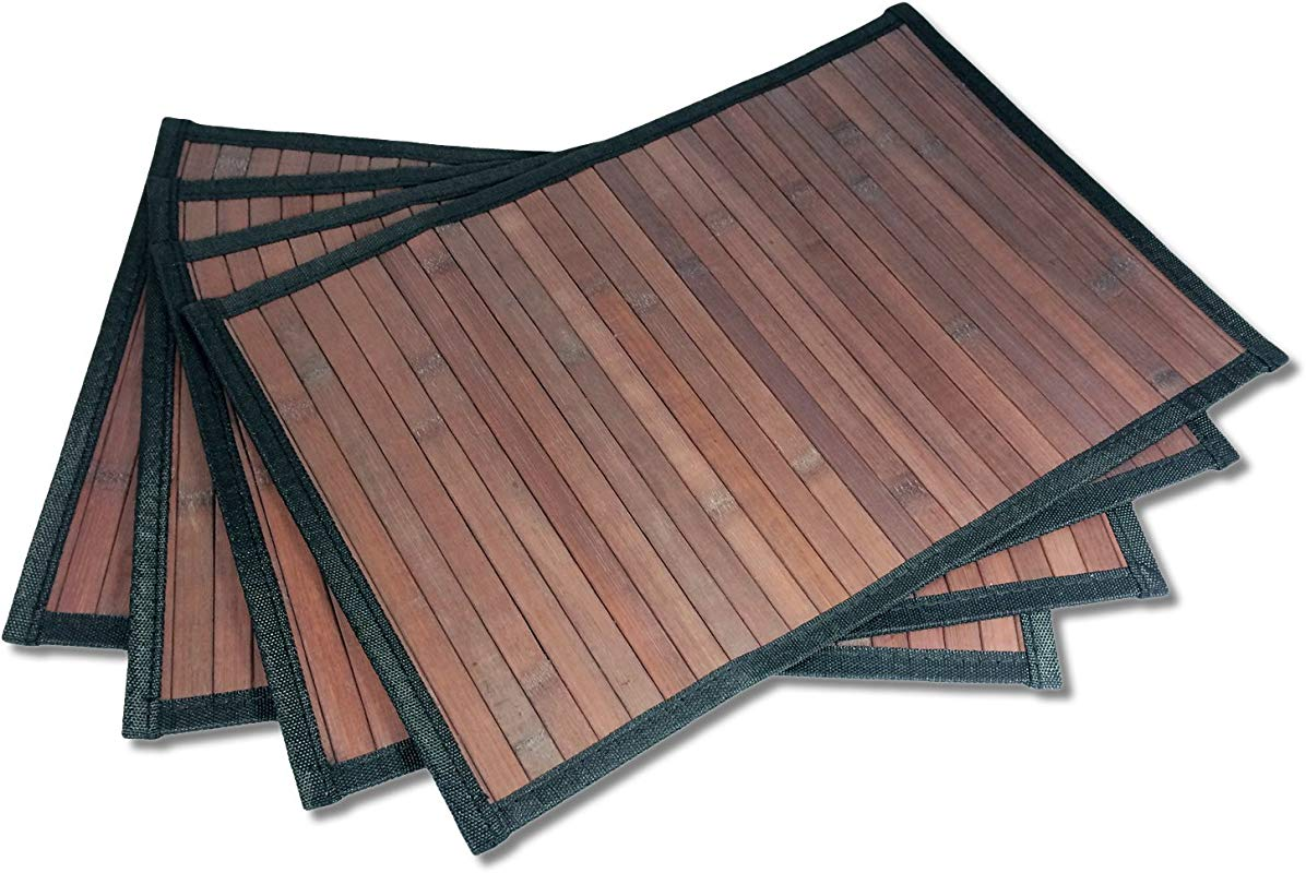 Stylish Wide Slat Bamboo Placemat Dark Brown Black Border By Sustainable Simplicity 4pc Set