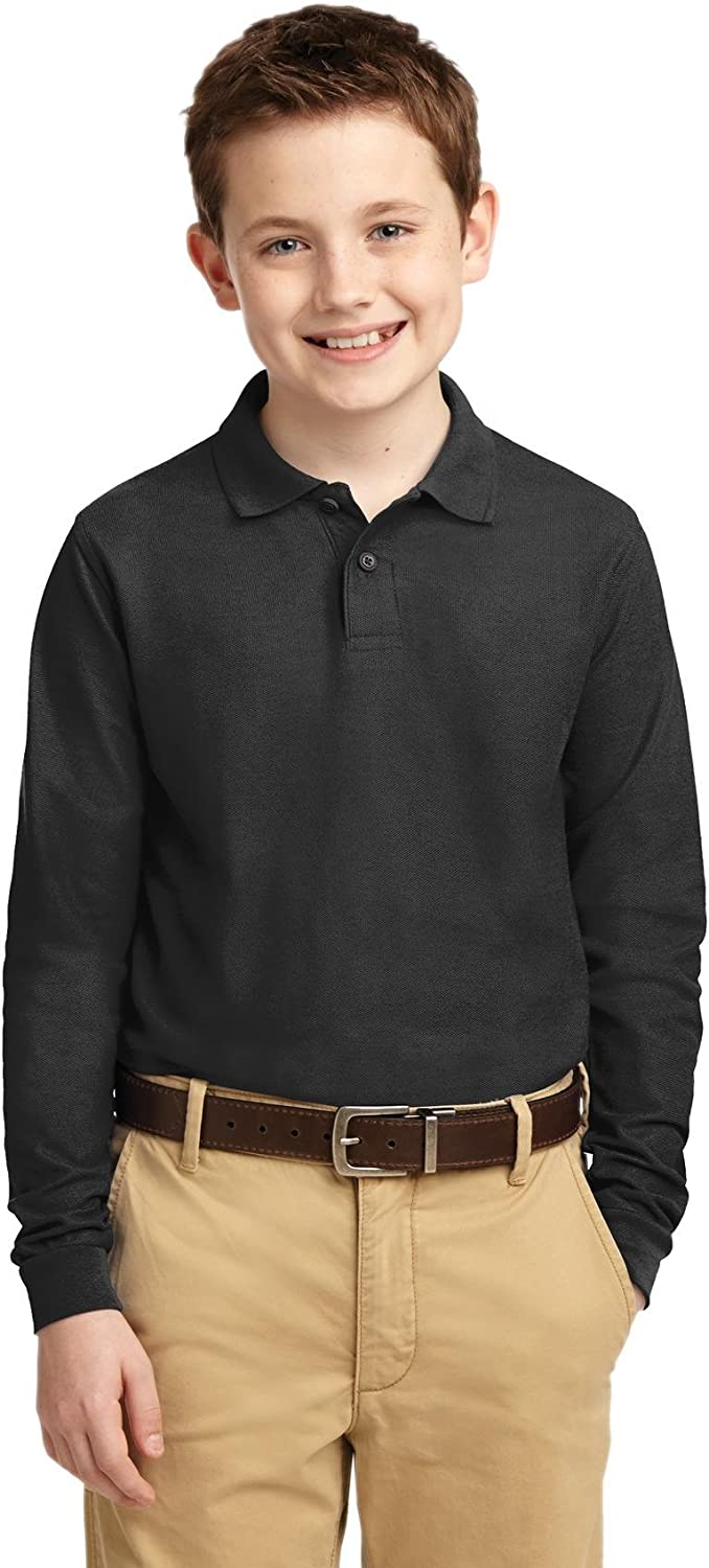 Port Authority Youth Long Sleeve Silk Touch Polo. Y500LS Black S