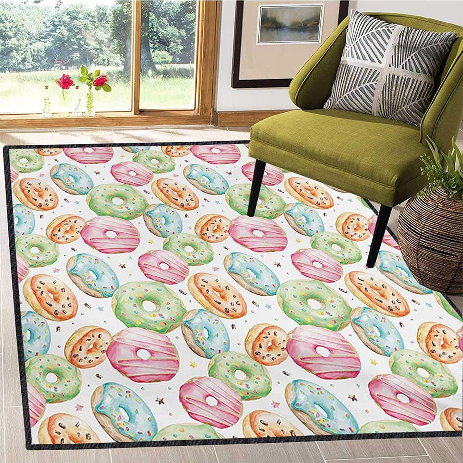 Watercolor, Door Mats for Inside, Sweet Delicious Donuts Pattern with Various Flavors Sprinkles Stars Background, Door Mats for Inside 6x7 Ft Multicolor