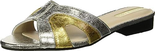 Kenneth Cole New York Woherren Vivica Flat Slide Sandal, Silber Gold, 7.5 M US