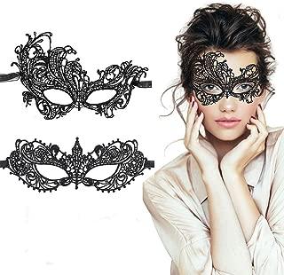 TreatMe Masquerade Mask - 2 Pack Women Venetian Mask Pretty Elegant Lady Lace Masquerade Halloween Mardi Gras Party (Black B)
