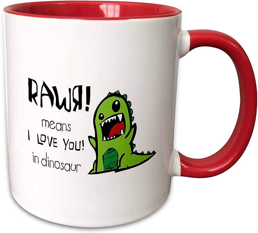 3dRose 157446 5 Rawr Means I Love You In Dinosaur Mug 11 Oz Red