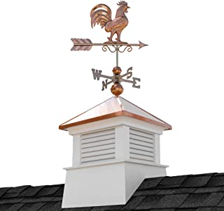 """Good Directions 2118MV-1975P 18"""" Square Manchester Vinyl Rooster Weathervane Cupola, White"""