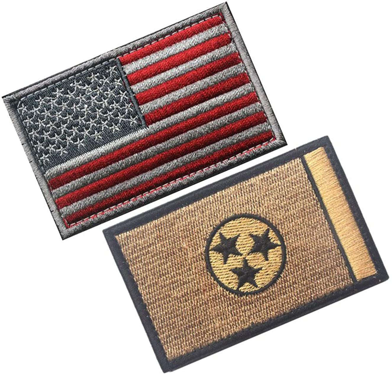 HFDA 2 Piece US Flag and Tennessee Flag Patches Morale Patches Cloth Fabric Badges Tactical Patches (Color 13)