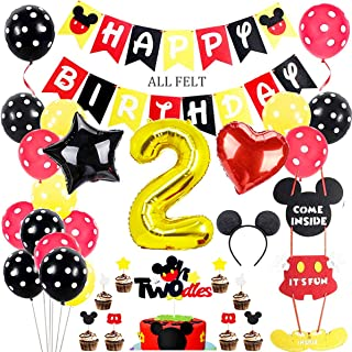 Danirora Mickey Mouse Party Supplies 2nd Birthday, Mickey Mouse Themed Birthday Decorations Balloons Mickey Party Supplies...
