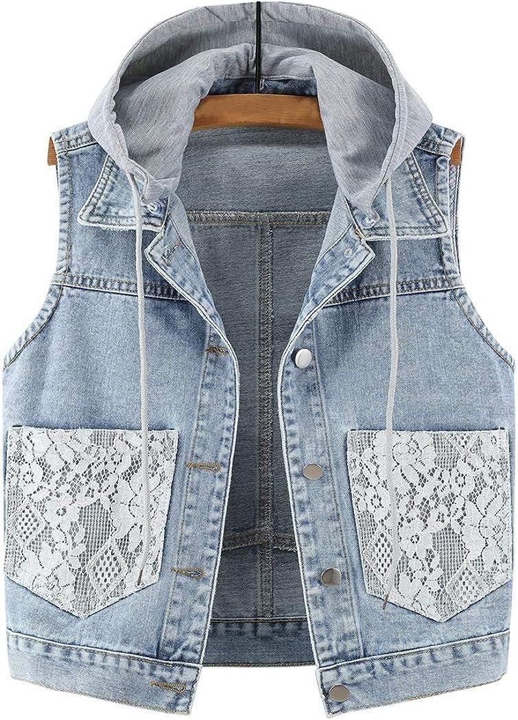 Hixiaohe Women's Girls Casual Retro Denim Vest Distressed Sleeveless Jean Jacket