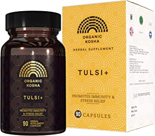 Organic Kosha Tulsi + Capsules, High-Potency, Forest Grown, All-Natural Antioxidant Supplement for Promoting Immunity, Str...