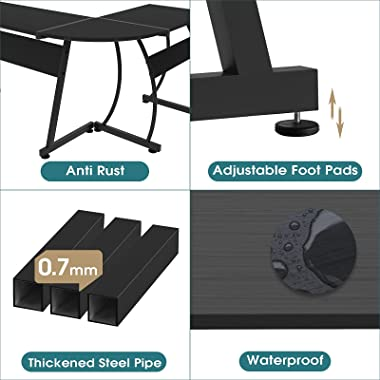 Advwin Computer Office Desk, L-Shaped Home Office Workstation Table, Computer Corner Desk with Large Desktop for Office Writi