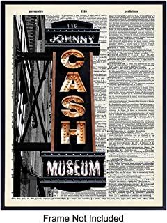 Johnny Cash Dictionary Art Print - Vintage Upcycled Wall Art Poster- Modern Chic Home Decor for Bedroom, Living Room, Kitchen, Office - Gift for Country Music, Nashville Fans - 8x10 Photo- Unframed