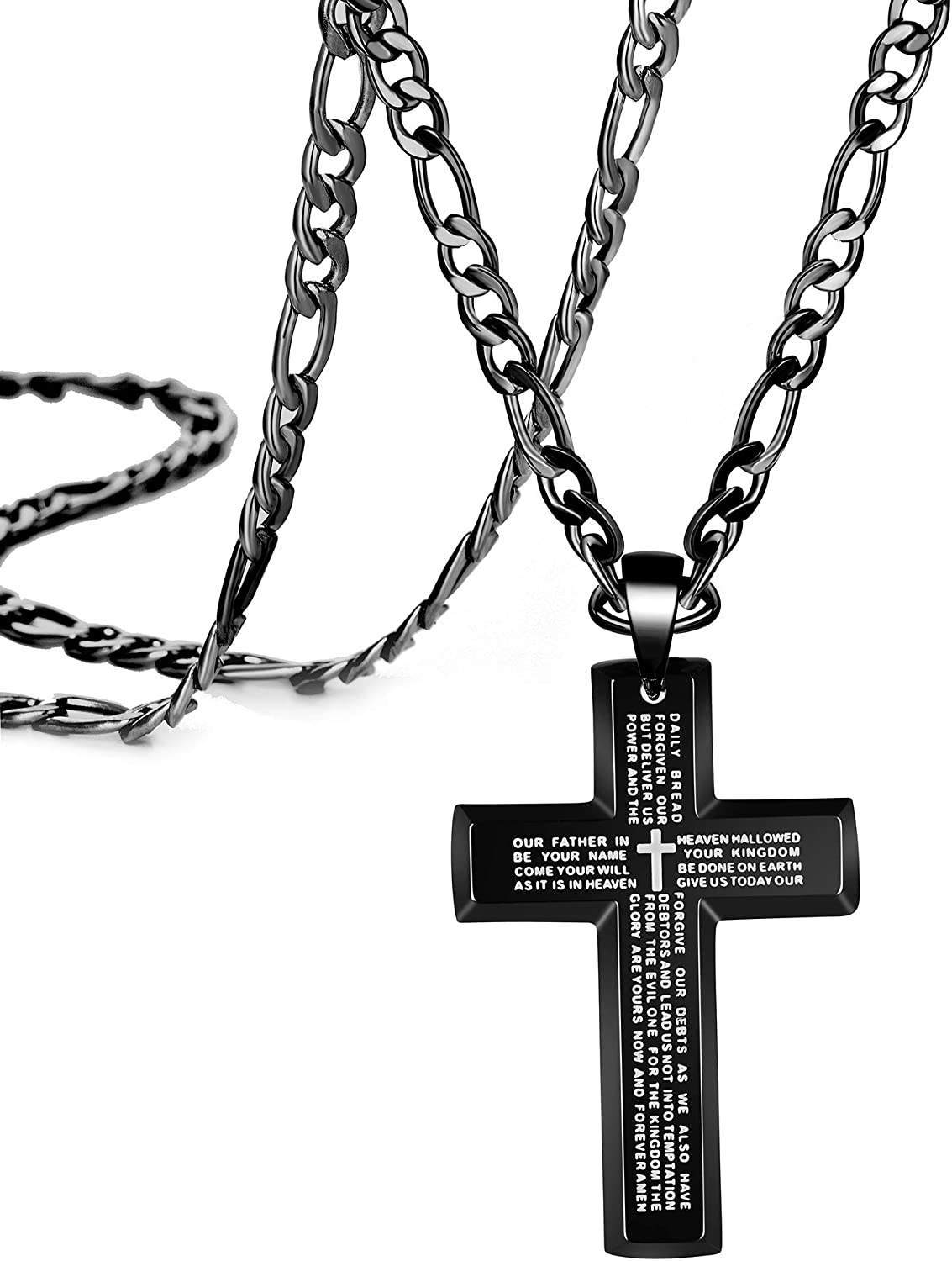 Black Cross Pendant Necklace for Men Boys Prayer Christian Jewelry Baptism Gifts Religious Faith Necklaces Stainless Steel Box Figaro Chain 22 24 26 30 Inches