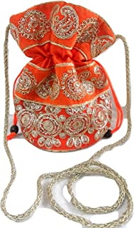 Yashvi Exportz Indian Handmade Traditional Women Zari Embroidered Potli Bag Hangbag Evening Bag Purse Clutch Orange