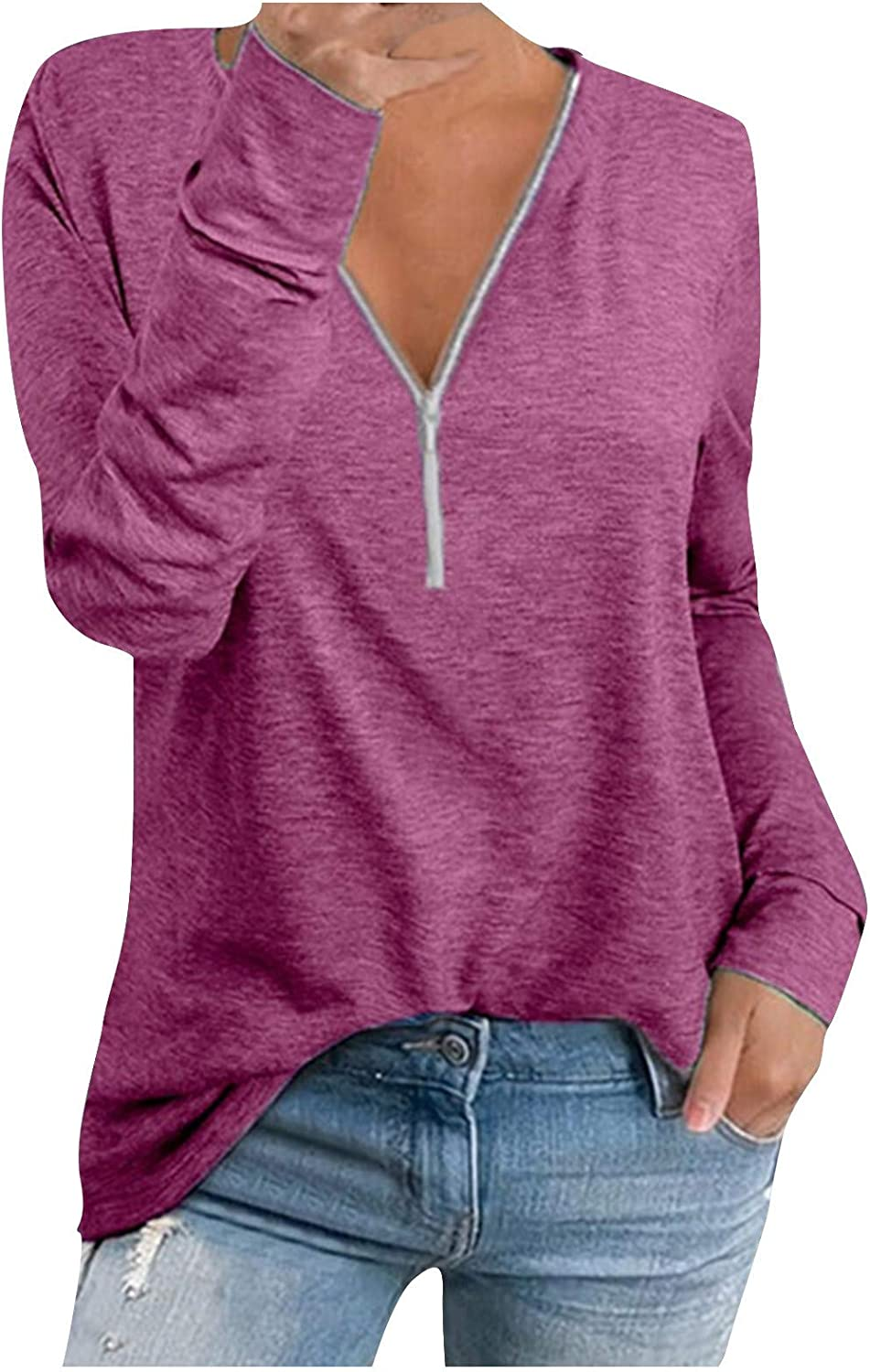 2021 Women/'s Casual Solid Color Long Sleeve V Neck Zip-Up Loose Pullover Tunic Blouse Tunic Tops