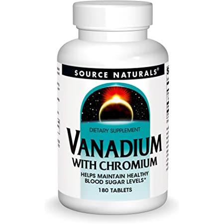Source Naturals Vanadium with Chromium - Helps Maintain Healthy Blood Sugar Levels - 180 Tablets