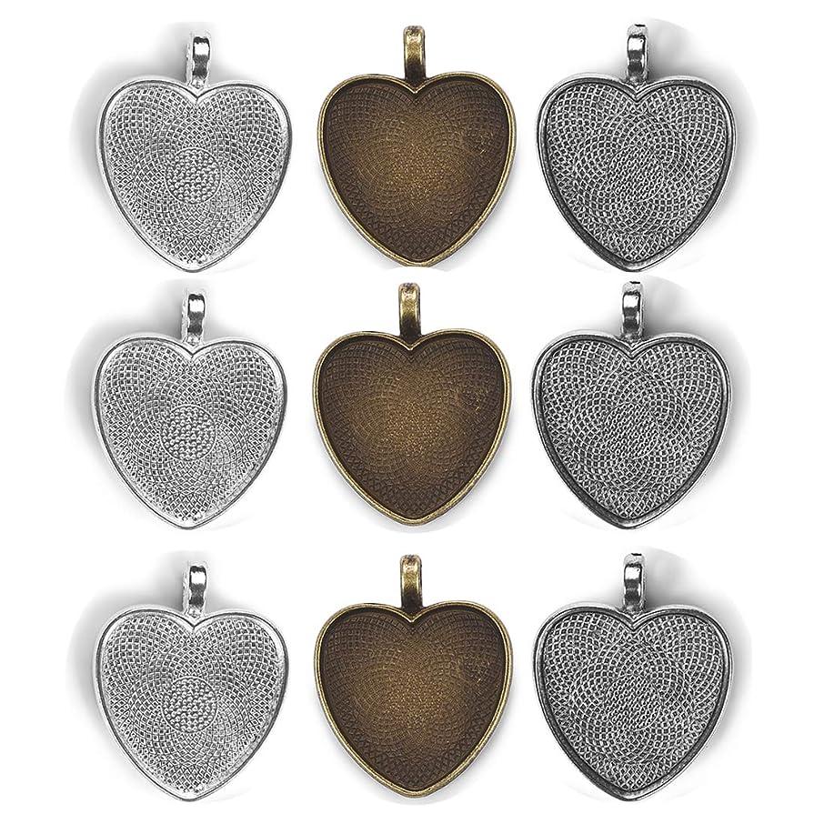 30Pcs Heart Camo Frame Setting Blank Pendant Trays-10Pcs Bronze Glass Cabochons Dome Base Setting Bezel,10Pcs Silver Plated Pendant Bezels,10Pcs Antique Silver Bezel Blanks for Jewelry Making 25mm