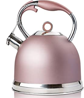Whistling Tea Kettle induction Modern Stainless Steel Surgical Whistling Teapot - Pot For Stove Top (Rose gold-3 Liter)