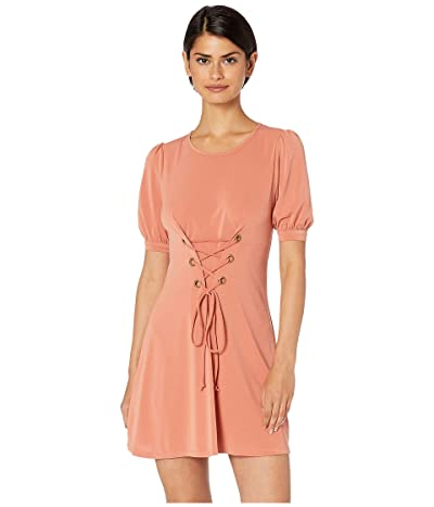 BCBGeneration Day Bubble Sleeve Front Lace-Up Knit Dress (Canyon Clay) Women