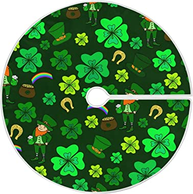 Moudou St. Patrick's Day Tree Skirt Clover Christmas Tree Skirt for Holiday Party Decoration 36 Inch
