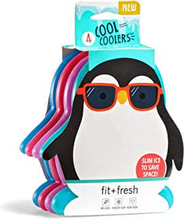 Fit & Fresh Cool Coolers, Slim Ice Packs for Lunch Boxes, Bags and Coolers,  Penguin..