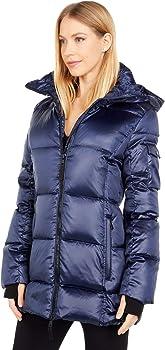 S13 Women's Down Fill Satin Gramercy Hooded Coat (Midnight)