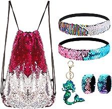 Mermaid Reversible Sequin Drawstring Backpack/Bag Rose Red/Silver for Kids Girls