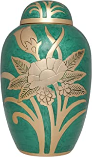 Liliane Memorials Green and Gold Flower Funeral Urn Cremation Urn for Human Ashes - Brass- Suitable for Cemetery Burial or Niche- Large Size for Adults up to 200 lbs - Green Rose
