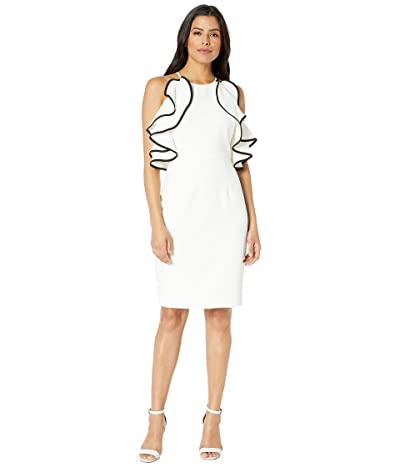 Vince Camuto Halter Dress with Ruffles (Ivory/Black) Women