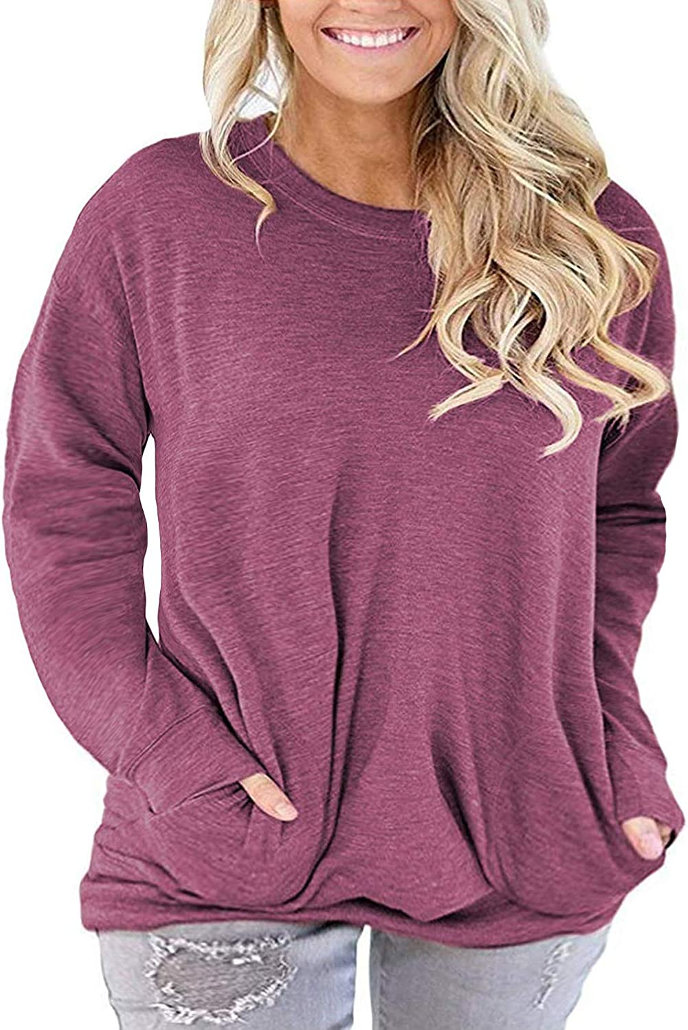 ROSRISS Womens Plus Size Long Sleeve Tee Tops Casual Tunics Shirts with Pockets