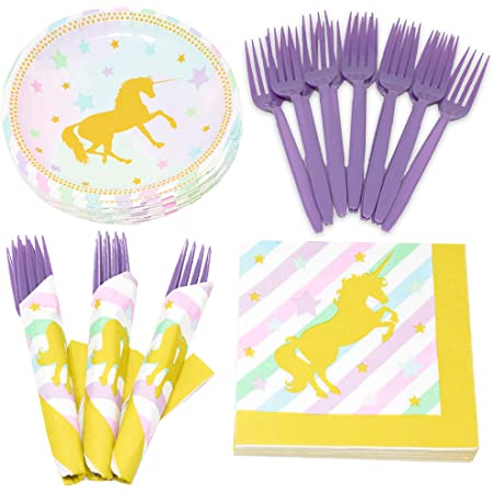 Golden Metallic Pastel Unicorn Birthday Party In A Box! Napkins Service For 16 Table Cover /& Balloons With Ribbon Cups Plates