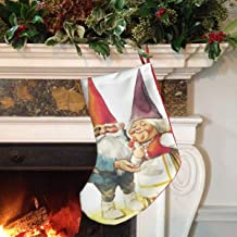 Gnomes-David-and-Lisa-Rien-poortvliet 18 Inches Christmas Stockings Family and Kids Holiday with Santa Holiday Xmas Party Designs Printing Christmas Decorations Decoration Home