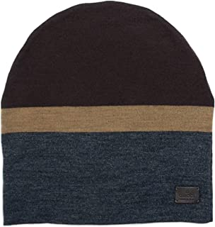 Men's Beanie Ski Wool Knit Cap Hat with Signature Leather 353999 (Large)