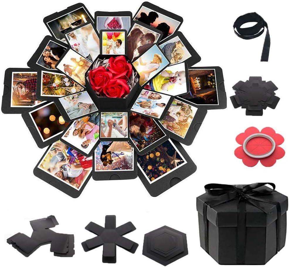 Explosion Gift Box Set,DIY Photo Album Box,Surprise Exploding Love Box for Couples,Sentimental Gift for Wedding Box,Birthday Party,Boyfriend,Girlfriend,Scrapbook Style DIY Photo Album,Memory Box