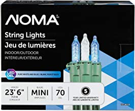 NOMA Premium Mini LED Christmas Lights | Indoor/Outdoor String Lights | Blue and Clear Pure White Bulbs | 70 Light Set | 23.6 Foot Strand