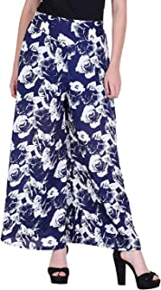 Fraulein Women's/Girls Palazzos Blue Floral Printed Soft Crepe Flared Bottom Trendy and Stylish Palazzos with One Pocket a...