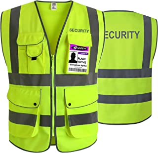 JKSafety 9 Pockets Security Vest (Ver 2) Yellow Zipper Front Safety Vest with Highly Reflective Strips, ANSI/ISEA 107-2015 Class 2 (Yellow-Security, 4X-Large)