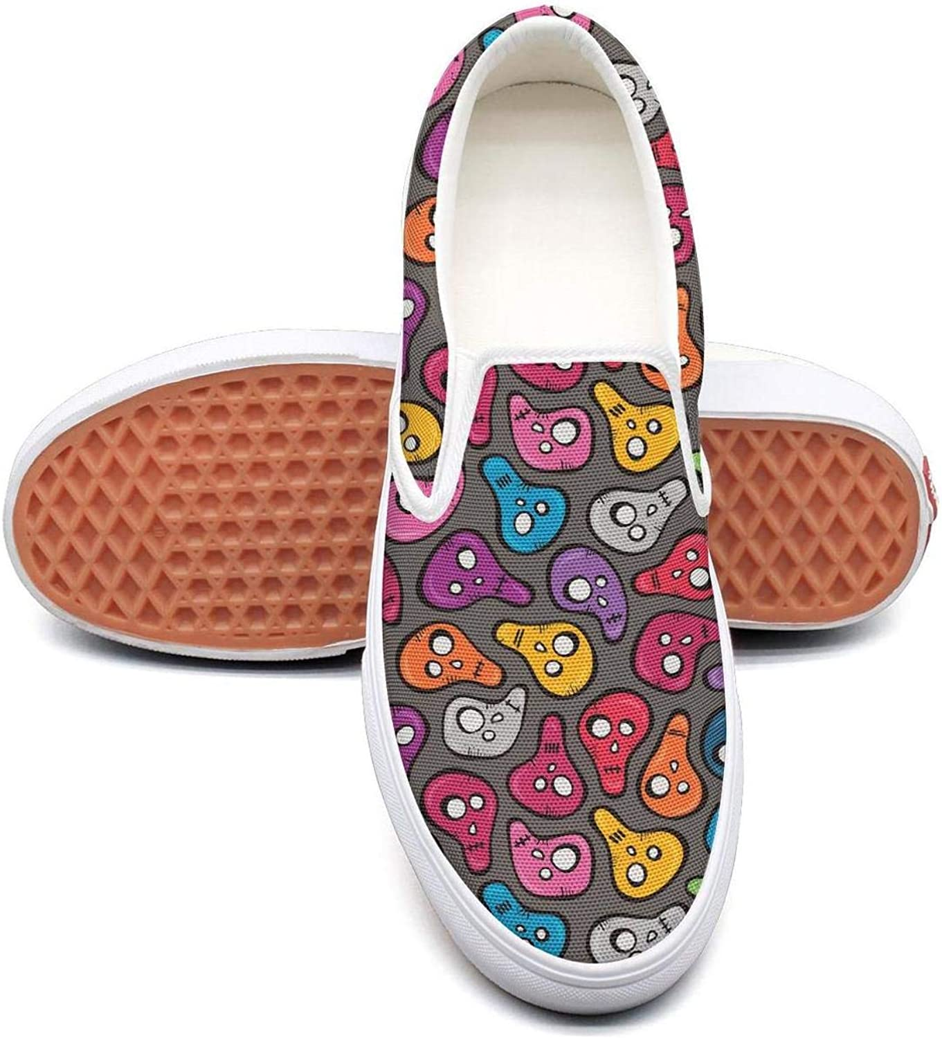 colorful A Skull Skeletons Slip On Rubber Sole Sneakers Canvas shoes for Women Fashion