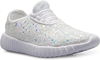 Olivia K Kids Girls Boys Easy On Casual Fashion Sparkly Glitter Sneakers - Comfort, Lightweight
