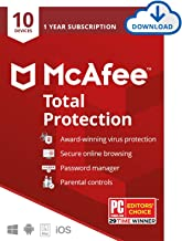 McAfee Total Protection 2020 Antivirus Internet Security Software, 10 Device Password Manager, Parental Control, Privacy, 1 Year - Download Code