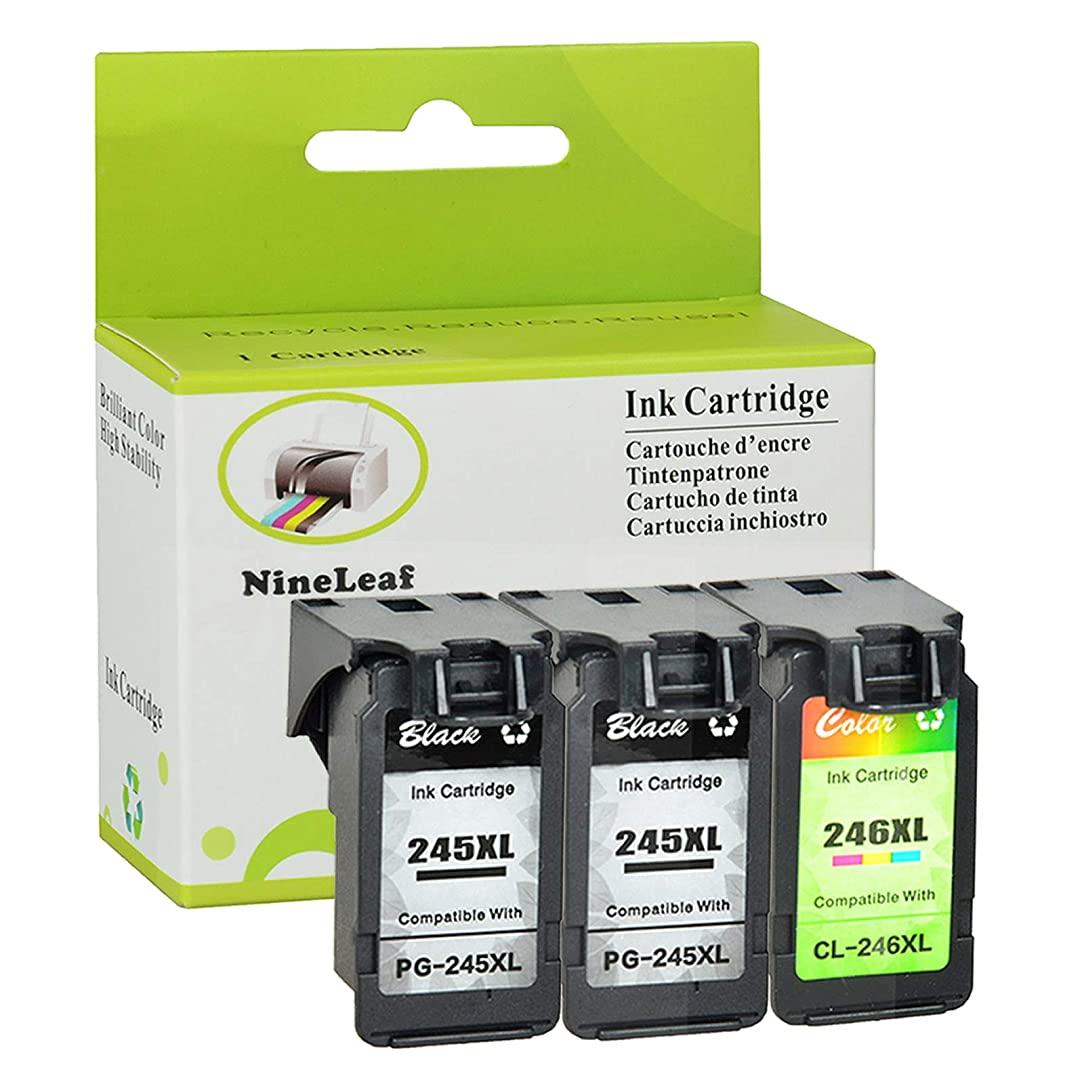 NineLeaf Remanufactured Ink Cartridge Replacement for Canon PG-245XL CL-246XL PG-243 CL-244 PIXMA MG2520 MG2920 MG2922 MG2924 MG2420 MG2522 MG3022 MG2555 MX492 (2 Black 1 Tri-Color,3 Pack) qqw11399157
