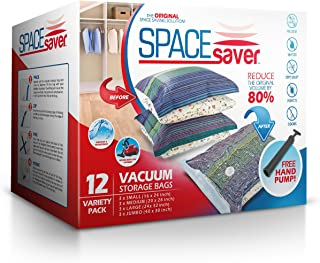Spacesaver Premium Vacuum Storage Bags (3 x Small, 3 x Medium, 3 x Large, 3 x Jumbo), 80% More Storage Than Leading Brands, Free Hand Pump for Travel! (Variety 12 Pack)