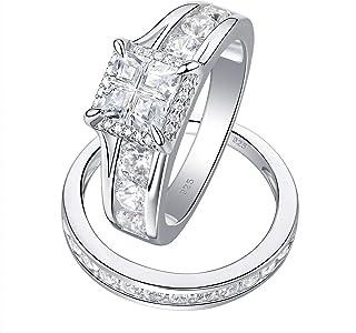 Wuziwen Size 7 9 10 Halo Princess Cut Engagement Rings Set for Women CZ 925 Sterling Silver