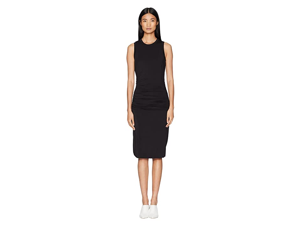 Halston Heritage Sleeveless Scoop Neck Ruched Midi Jersey Dress (Black) Women