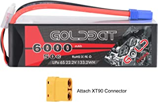 GOLDBAT 6S 6000mAh 22.2V 50C LiPo RC Battery with EC5 Plug and XT90 Connector for RC Evader BX Car RC Truck RC Truggy RC Heli Airplane Drone
