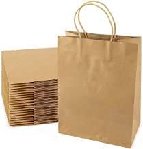 Premium Brown Paper Bags – 100% Recycle Kraft Bag with Handles - Use for Party Favor, Candy, DIY Craft, Cookie, Merchandise, Shopping, Jewelry, Welcome or Thank You Bags